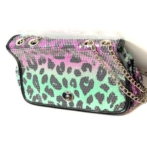 Betsey Johnson Womens Sequin Handbag Shoulder Bag